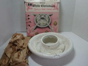 Vintage Christmas White Tree Stand NWB Gold Glitter NBU with BoxOne 204-W S.B.