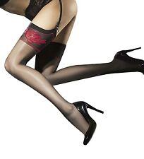 Bas Sexy nylon voile noir - Fiore - Etheris - Jarretière fantaisie - 20 deniers