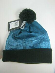 Nike Blue & Black Cuff Beanie Skull Cap with Pom Pom Youth Boy's 8-20 NWT