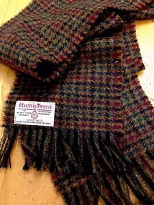 Harris Tweed Scarf Forest Red Burgundy Green Blue Traditional Check Dark Winter