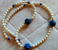 Antique Chinese carved lapis Shou beads, fresh water pearl necklace w. gold