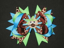 "NEW ""LION - Blue & Green"" Hairbow Alligator Clip Girls Ribbon Hair Bows Birthday"