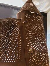 Antique American Folk Art Punched Pierced Tin Sheet Metal Candle Lantern Lamp