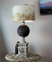 French Country Shabby Chic Table Lamp with Aged Gold Leaf Shade - The Kings Bay