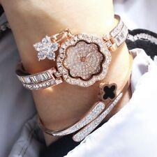 Women's Rose Gold Extra Sparking Full Diamond Flower Face Quartz Bracelet Watch