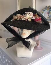 Vintage BLACK Faux STRAW Hat WIDE BRIM Sheer Nylon & VELVET Roses PINK VTG KATE