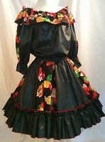 Square Dance OUTFIT Circle Skirt & Peasant Top  Black Fruit Print Western Vtg