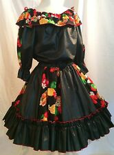 Square Dance OUTFIT Circle Skirt & Peasant Top  Black Fruit Print Western Vtg