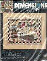 Vintage 1996 Dimensions 3156 Rustic Angels Stamped Cross Stitch opened kit