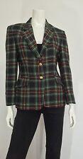 Giacca Chene vintage lana donna usato manica lunga quadri scozzese tg 42 T734
