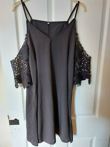 Long Length Broderie Anglaise Loose Black Tunic Cold Shoulder Top size 16/18