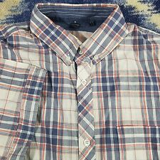 Buffalo David Bitton Men's sz L blue white red Plaid 100% Cotton Button Up Shirt