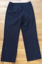 Jones New York Sport Black Pinstripe Flat Front Pants Stretch Size 6