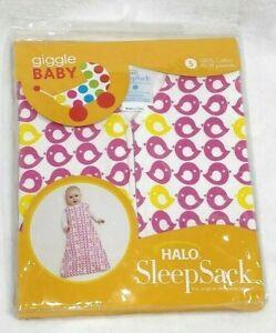 HALO SLEEP SACK Pink Bird 100% Cotton Zip Up Size Small 10-18 LBS 0-6 Mo.