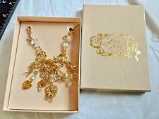 "KIRKS FOLLY BRIGHT GOLD DANCE WITH FAIRIES MULTI CHARM NECKLACE 29""LONG & BOX"