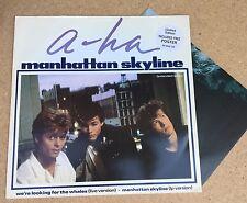 "A-HA Manhattan Skyline 1987 UK 12"" vinyl single + POSTER EXCELLENT CONDITION"