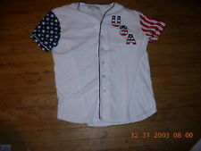 USA Adult Medium White Cotton Jersey with Stars-Stripes,65% to WOUNDED WARRIORS