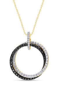 0.1CT Black & White Diamond Interlocking Circle Pendant In 14K Yellow Gold Over