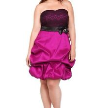 New Torrid Retro Burlesque Pinup Lace Fuschia Sweetheart Strapless Dress Sz 16