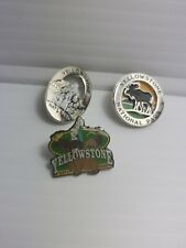 Lot of 3 Yellowstone National Park Bear Moose Geyser Lapel Pins