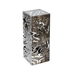 Deko Säule Bodensäule FLORA BLÄTTER H. 70cm 27x27cm silber Metall Casablanca