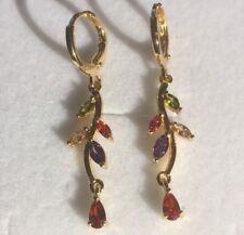 f CZ gemstones 18ct gold filled drop dangle earrings 41x9mm Plum UK BOXED