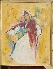 Excellent Singapore Bali Asian Mid Century Folk Dancer Painting Attr. Liu Kang