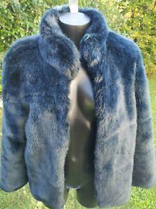 Manteau en fourrure synthétique Zara Bleu taille XS
