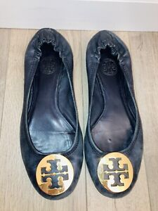 Tory Burch Flats US Womens Sz 7.5 Well Loved Very Worn Black Leather