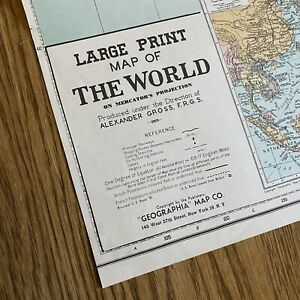Vintage Large Print Map of the World on Mercator's Projection Alexander Gross
