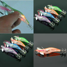 4Pcs LED Lighted Shrimp Fishing Lure Squid Bait Prawn Baits Jigs Tackle Hook