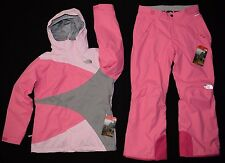 The North Face Girls Mountain View Triclimate Jacket Mossbud Ski Pants Set M NEW