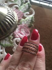 SIZE 8-BELLA LUCE 2.40CT LAB CREATED MOCHA & CHAMPAGNE DIAMOND SS/ROSE GOLD RING