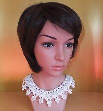 Ausgefallene Halskette Häkelkragen Spitzenkragen mit Knopf Kragen weiß Perlen
