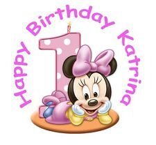 "MICKEY MINNIE MOUSE1st BIRTHDAY 7.5"" ICING CAKE TOPPER WITH FREE PERSONALISATION"