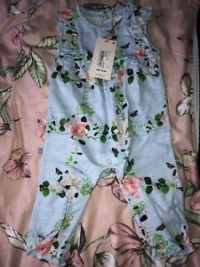 Bnwt Ted Baker Blue Floral Baby Girl All In One Romper Suit Size 3-6 Months