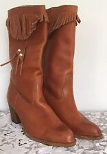 Vintage 1970's Hippie Fringe Leather Boots 8M Terra Cotta Brown Festival