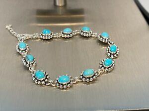925 Silber Armband 11 x Türkis Länge 19+3  cm  Gewicht: 17,3 Gr. Indianerschmuck