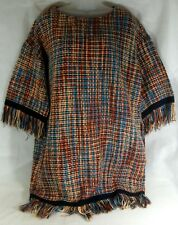 Vintage Style multi winter warm Woven  Fringed  tunic   long  Top Size Large