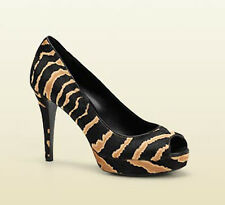 AUTH Gucci Women Animal Striped Open Toe Heel 38.5