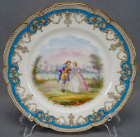 Old Paris Sevres Style Hand Painted Courting Couple Celeste Blue & Gold Plate D