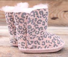 UGG Australia Cassie Baby Pink Leopard Sheepskin Boots Booties 0/1 0-6M NEW!