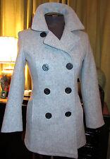 New! Schott NYC! Women's Light Gray Fitted Wool Pea Coat XS