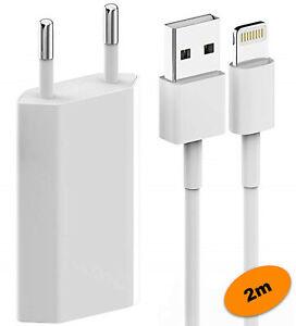 2m Ladekabel iPhone 5 6 7 8 X 11 12 Pro iPad Kabel für Original Apple + Netzteil