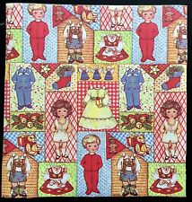Little Girl and Boy Paper Doll Gift Wrap, 1 Small Sheet, Around the 1970's