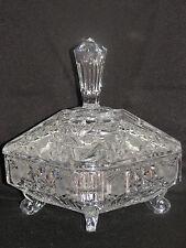 LARGE BRILLIANT CRYSTAL CUT GLASS SQUARE CANDY DISH HOBSTAR PINWHEEL HEAVY!