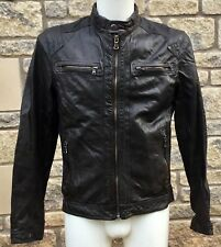 ** H.E. by MANGO ** Women's Dark Tan Biker Style Leather Casual Jacket M MEDIUM