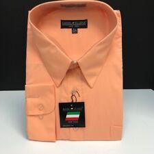 Daniel Ellissa Men's Peach Dress Shirt Pocket Convertible Cuff Sizes 18.5 - 19.5