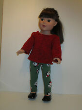 "Red Sweater/Mickey Christmas Leggings for 18"" Doll Clothes American Girl"