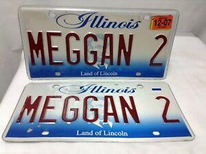 2007 Pair Illinois Vanity License Plates MEGGAN 2 Meg